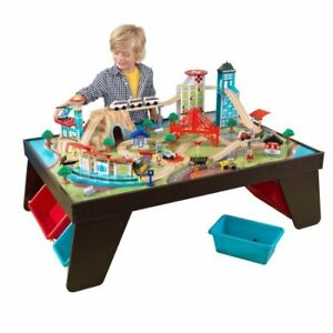 KidKraft Aero City Train Set and Table, Dark Cappuccino