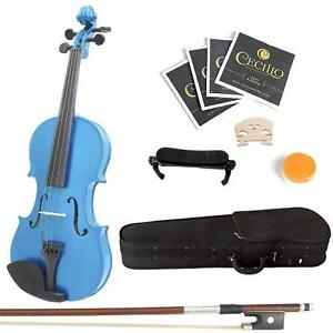 NEW MENDINI 4/4 BLUE VIOLIN SOLID WOOD VIOLIN - STRINGS MUSIC INSTRUMENT 104003919