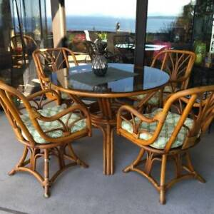 Bamboo Round Dining Table with 4 chairs