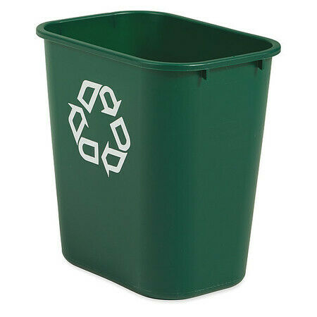 Rubbermaid Fg295606grn 7 Gal Rectangular Plastic Desk Recycling Container ,