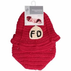 Fire Department - hand crocheted hat and diaper set