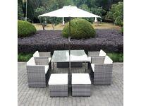 Grey Rattan 10 Piece Cube Garden Dining Set - Parasol Included