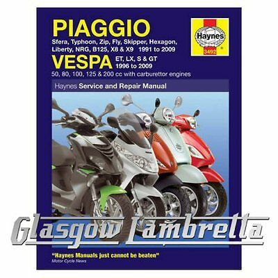 Haynes Service & Repair Manual Piaggio (Vespa) Scooters 1991 - 2009 + stickers