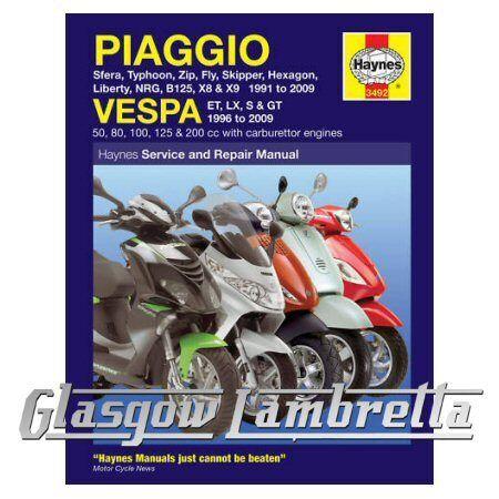 Haynes Service & Repair Manual Piaggio (Vespa) Scooters 1991 - 2009 + stickers