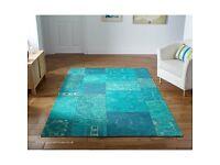"""Renaissance 25L chenille-style patchy turquoise large rug 160cm x 235cm (5'3"""" x 7'9"""")"""