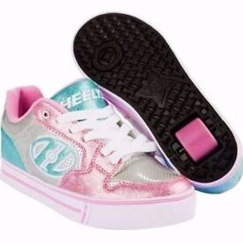 Heelys Motion Plus Silver Pink Blue UK Size 5 New & Boxed