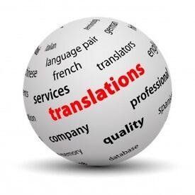Translation English, Turkish, Spanish, Italian, French, German vs vs.