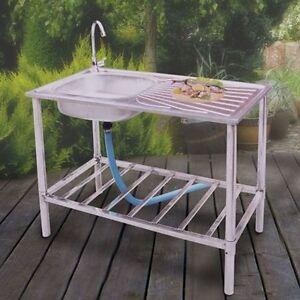 edelstahl waschtisch k chensp le sp lbecken armatur gartenwaschtisch waschbecken ebay. Black Bedroom Furniture Sets. Home Design Ideas