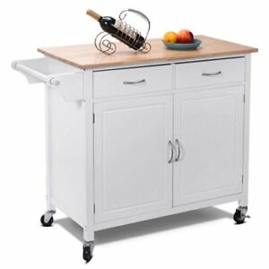 Costway Rolling Kitchen Cart Island Wood Top Storage Trolley Cab