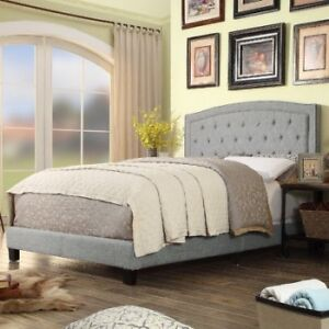 Bnib AltonHills upholstered bed grey Queen