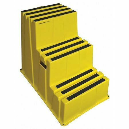 Zoro Select 44Zj63 3 Steps, Plastic Step Stand, 500 Lb. Load Capacity, Yellow