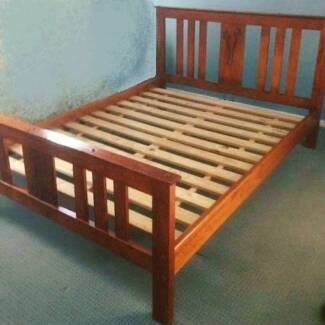flower decoration solid timber queen bed frame and mattress