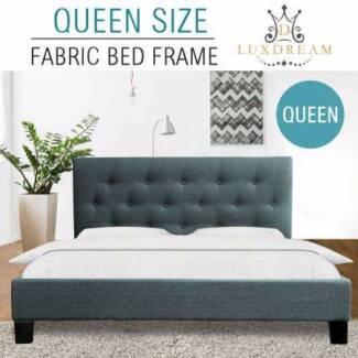 Grey Linen Bed Frame-Queen NEW