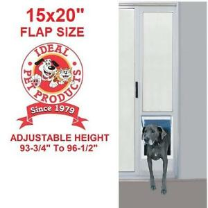 "NEW* FAST FIT PET PATIO DOOR 96PATSLW 232236092 IDEAL PET PRODUCTS ALUMINUM SUPER LARGE 96"" / 15x20"" FLAP SIZE"