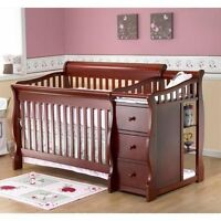 4 in 1 convertible crib in cherry in color