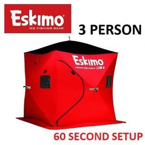 NEW ESKIMO POP UP ICE SHELTER 69445 214079212 3 PERSON INSULATED PORTABLE QUICKFISH RED OUTDOORS
