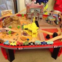 Cars wooden table track set