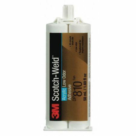 Scotch-Weld Dp810 Acrylic Adhesive, Dual-Cartridge, 1.64 Oz, Tan, 1:1 Mix