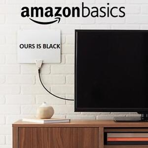 NEW AMAZONBASICS HDTV ANTENNA MH-110752 205881263 ULTRA THIN INDOOR 30 MILE RANGE BLACK