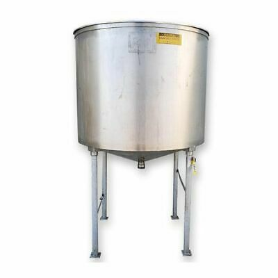 Used 600 Gallon Stainless Steel Vertical Liquid Cone Bottom Tank