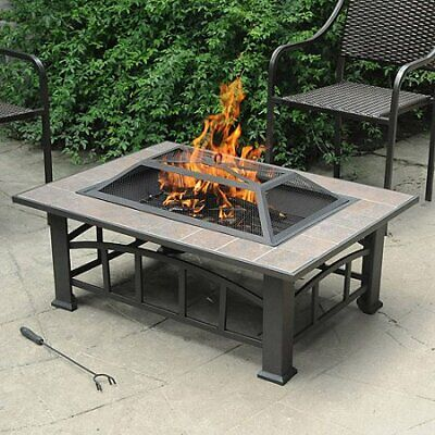 Sturdy Rectangular Ceramic Tile Top Fire Pit Brownish Bronze Roast S