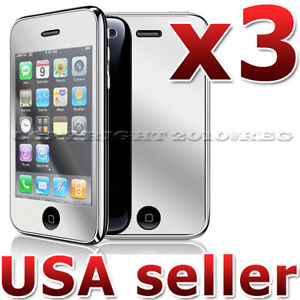 3X MIRROR LCD SCREEN PROTECTOR COVER GUARD SHIELD FILM FOR APPLE IPHONE 3G 3GS