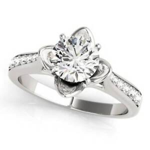 0.90 Carat Cathedral Diamond Engagement Ring in 14K White Gold