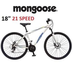 "NEW* MONGOOSE 18"" MEN'S BIKE R4132 231046880 BANISH 2.0 HYBRID BICYCLE WHITE 21 SPEED"