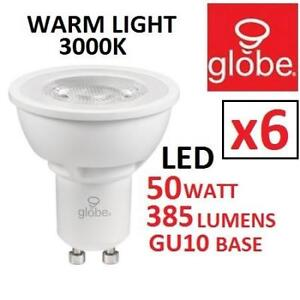 6PK NEW 50W LED FLOOD LIGHT BULBS 31187 217681574 GLOBE DIMMABLE WARMLIGHT 3000K PAR16 GU10 BASE 385 LUMENS LIGHTING