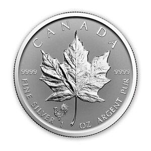 silver Maple leaf rooster privy/Pièce en argent 1 oz 2017