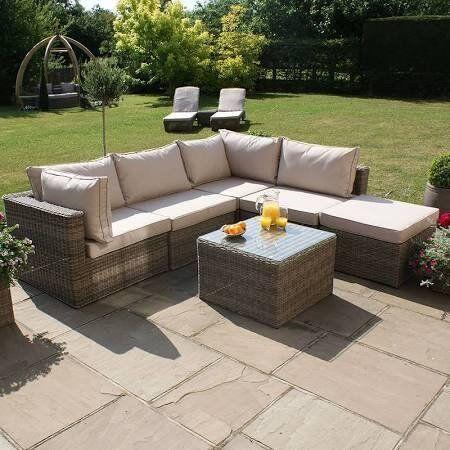 maze rattan winchester square garden furniture corner sofa set - Garden Furniture Corner Sofa