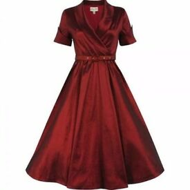 LINDY BOP DEEP RED VINTAGE STYLE DRESS SIZE 6 BRAND NEW WITH TAGS PARTY OR WEDDING /BRIDESMAID