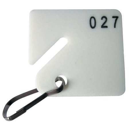 """Zoro Select 33J889 Key Tag Numbered 201 To 300, Pk100, Height: 1-5/8"""""""