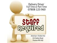 Staff required, Delivery Drivers Required, takeaway job, drivers job, Part time & Fulltime