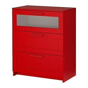 Commode 3 tiroirs BRIMNES rouge