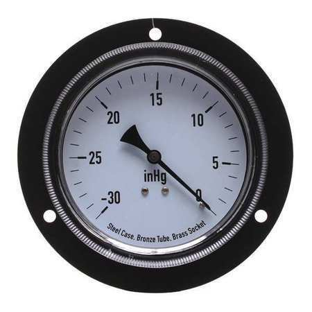 Zoro Select 4Fnd1 Panel Vacuum Gauge,Front Flange,3 1/2 In