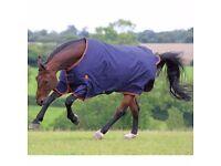 """Horse rug, Shires blue lightweight turnout rug.Highlander 200. 6.9"""" In bag. VGC. Kinmuck, Inverurie"""