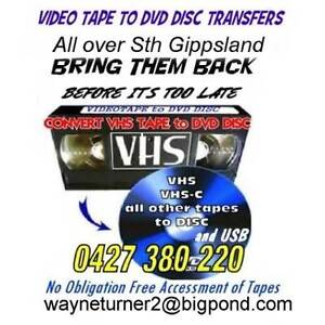 OLD RACING VHS TAPES  TO DVD DISCS Leongatha South Gippsland Preview