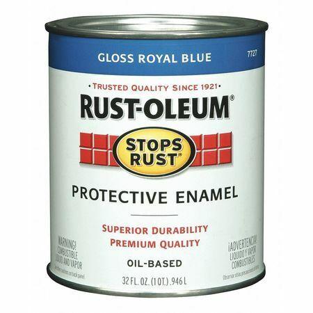 Rust-Oleum 7727502 Enamel Paint, Glossy, Oil Base, Royal Blue, 1 Qt