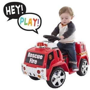 NEW HEY!PLAY! FIRE TRUCK RIDE ON 80-ZV119FIRE 210335522 LIL RIDER BATTERY POWERED TOYS FOR BOYS AND GIRLS TODDLER