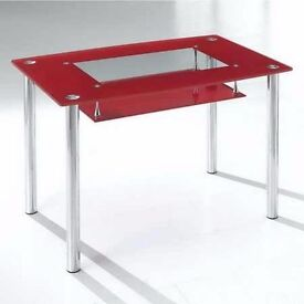 Red and Chrome Glass Dining table
