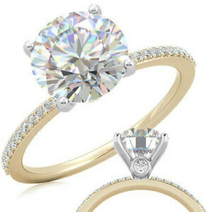 1.5 Carat Round Forever One Moissanite Petite Engagement Ring