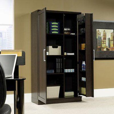 Pantry Cupboard Tall Storage Shelf Wooden Home Kitchen Organizer Cupboard Armoire