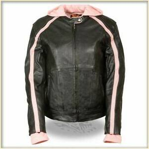 Ladies Leather Motorcycle Jacket with Zipout Hoodie