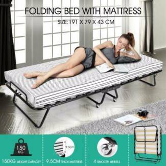 Portable Folding Camping Bed with Stripe Mattress Indoor/Outdoor