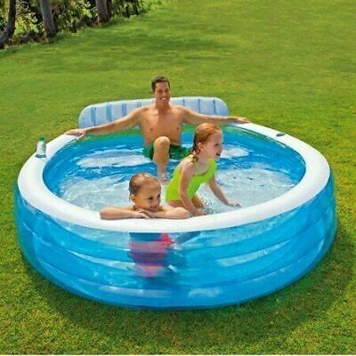 """Intex Swim Center Inflatable Family Lounge Pool, 90"""" X 86"""" X 31"""" NEW for Ages 3+"""