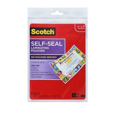 Scotch Self Sealing Photo Laminating Sheets  Gloss  5  X  W