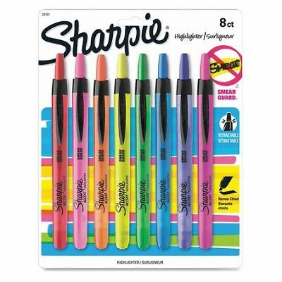 Sharpie 28101 Smear Grd Retractable Highlighterpk8
