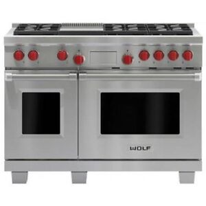 "Wolf 48"" Double Oven Stainless Steel Dual Fuel Range, Model DF48"