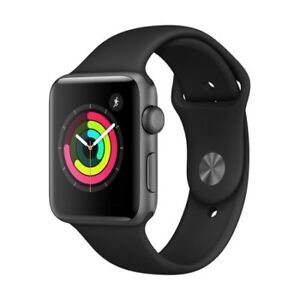 Apple Watch Series 3 GPS, 42mm Space Gray Aluminum Case with Bla
